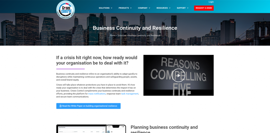 Screenshot 2021 04 08 Business Continuity and Resilience • Crises Control